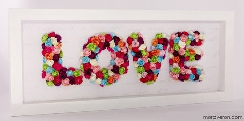 cuadro love con flores all you need is love amor deco moraveron palermo