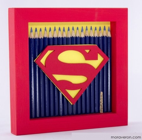 cuadro con lapices de superman deco moraveron home