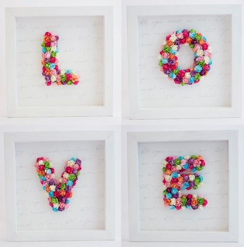 cuadros LOVE con flores all you need is love moraveron palermo home deco