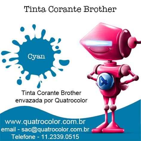 Tinta Corante Quatrocolor para Bulk Ink impressora Brother (4x100 ml) na internet