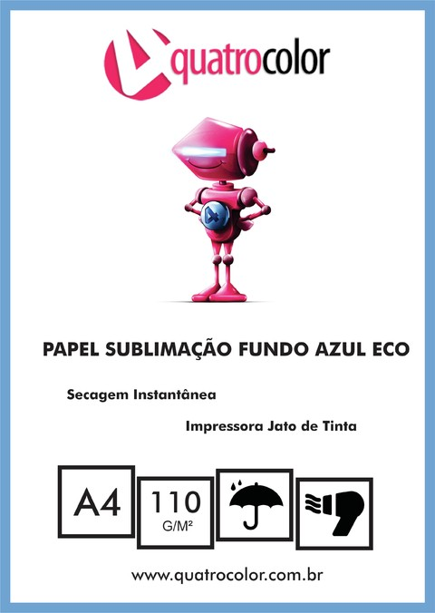 Papel Transfer Sublimático Digital Fundo Azul A4