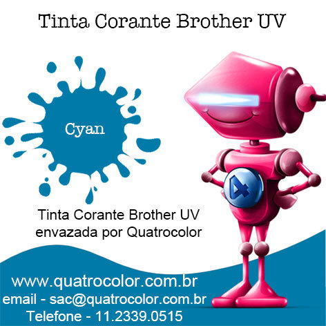 Tinta Corante UV Quatrocolor para Bulk Ink impressora Brother (4x250 ml) na internet