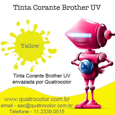 Tinta Corante UV Quatrocolor para Bulk Ink impressora Brother Amarela