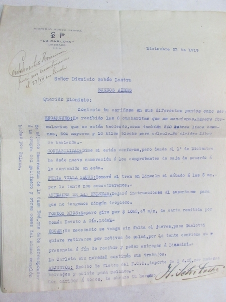Documentos Antiguos de Estancia. Fojas y recibos de Antonio Piñero 1918