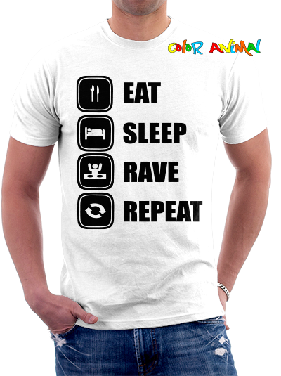 Eat Sleep Rave Repeat Remeras Color Animal