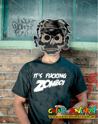 Remera Zomboy Estampado Interior Color Animal - comprar online