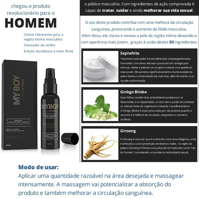 CREME PARA TRATAMENTO MY BOY CLEARXTEND – 60ML