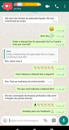 Sabonete Íntimo Líquido Natural Sex 250ml fantazzia sex shop