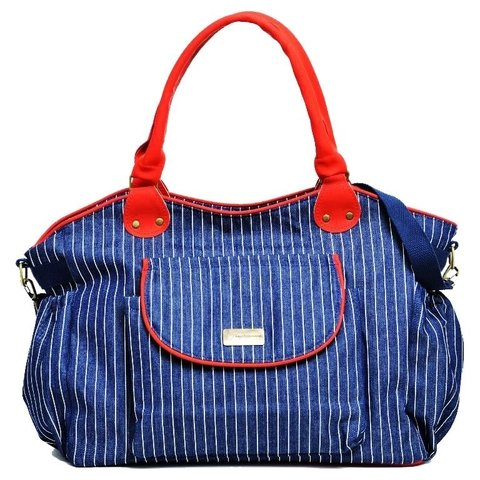 Happy Little Moments Bolso Cartera Maternal Marinero Azul Vivos Rojos