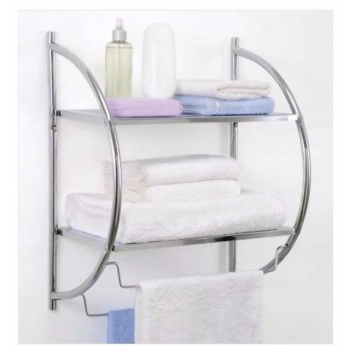 Toallero acero cromado repisa con dos estantes for Toallero cromado para bano