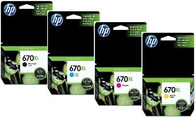Cartucho HP 670XL - Pack 4 Colores