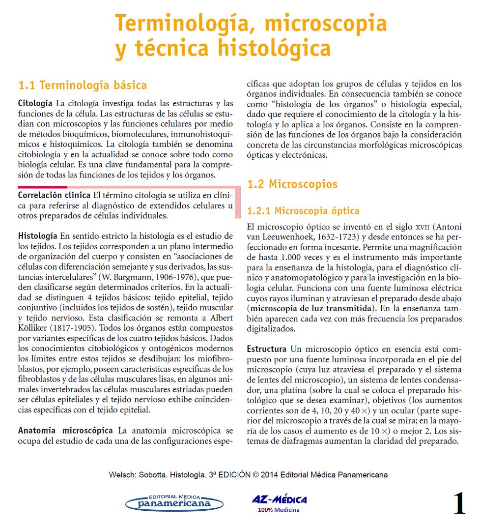 Terminología, microscopia y técnica histológica