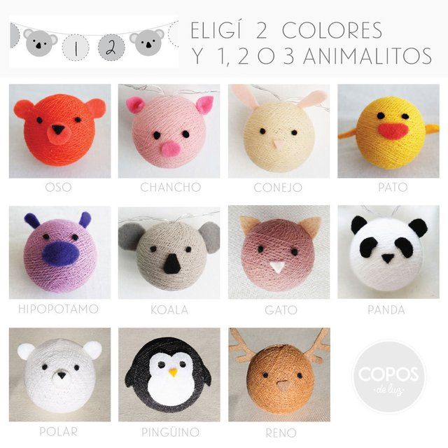 8 Animalitos  (+17 copos de colores) pilas
