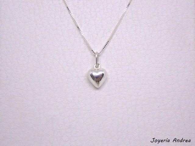 081b35d84f89 Conjunto de Cadena y Dije Corazón de Plata Chico