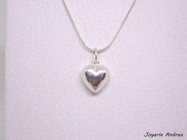 Conjunto de cadena dije corazón de plata mediano jpg 640x480 Cadenas de  corazon es plata 2c5779e6ff8