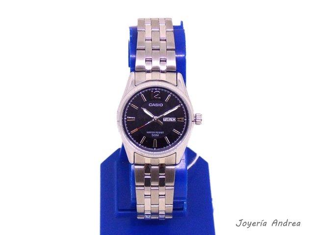 52f2b4ecbb66 Reloj Casio Mujer Acero Doble Calendario Sumergible