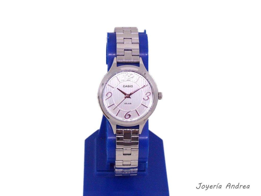 Acero Números Reloj Mujer Color Cobre Casio De Y nw80PkO