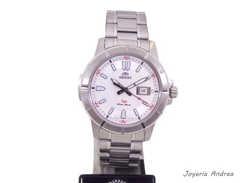Blanco Acero Reloj Cuadrante Hombre Orient NOvy8wmn0