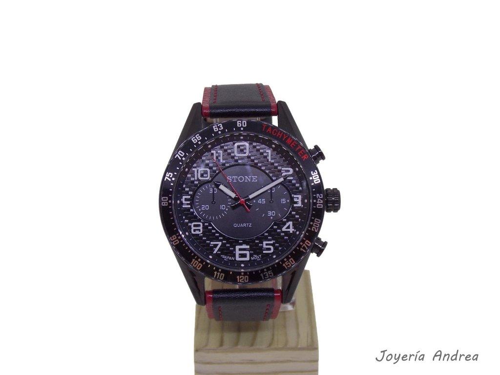 f54d1226a761 Reloj Hombre Stone Acero Negro con Correa de Cuero