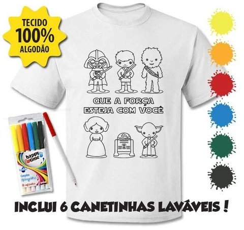 Camiseta Personagens Star Wars + 6 canetinhas