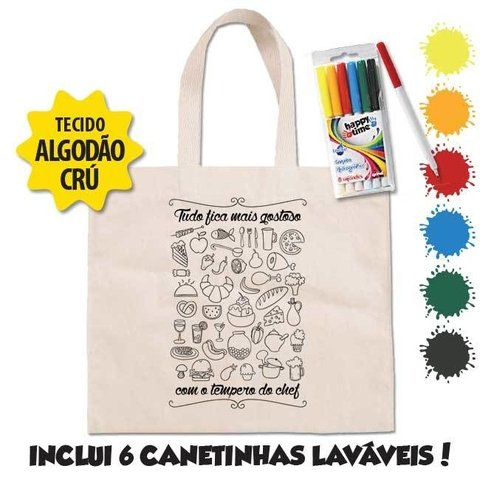 Ecobag Tempero do Chef + 6 canetinhas