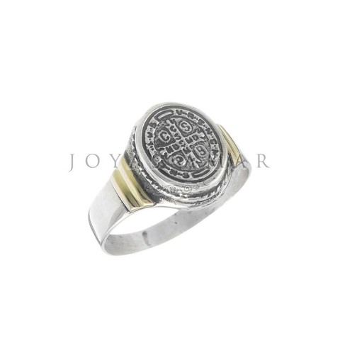 ANILLO SELLO CRUZ SAN BENITO OVAL MINI PLATA Y ORO