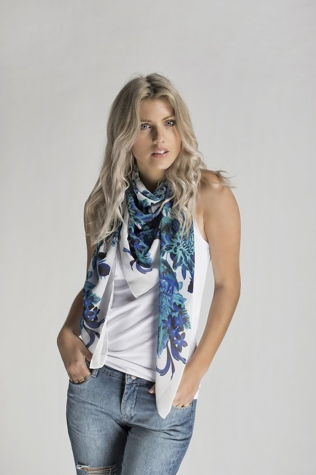 Pañuelo Deep Jungle Blue Large - Bonamy