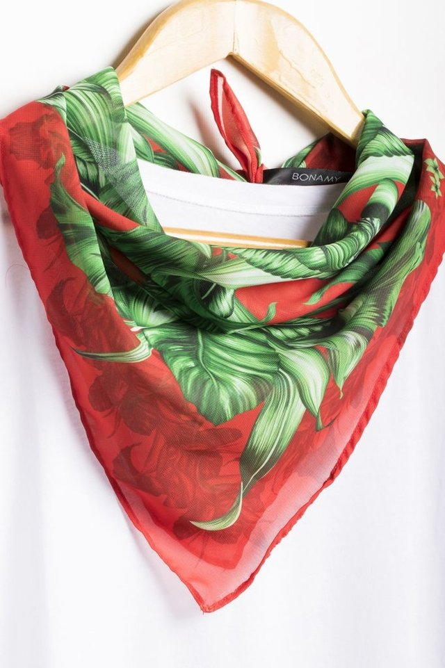 Pañuelo Tropical Leaves Red Small - comprar online