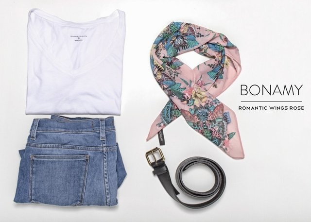 Pañuelo Romantic Wings Rose Small - Bonamy