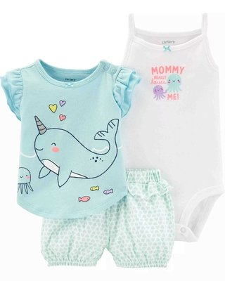 conjunto verao carters unicornio do mar