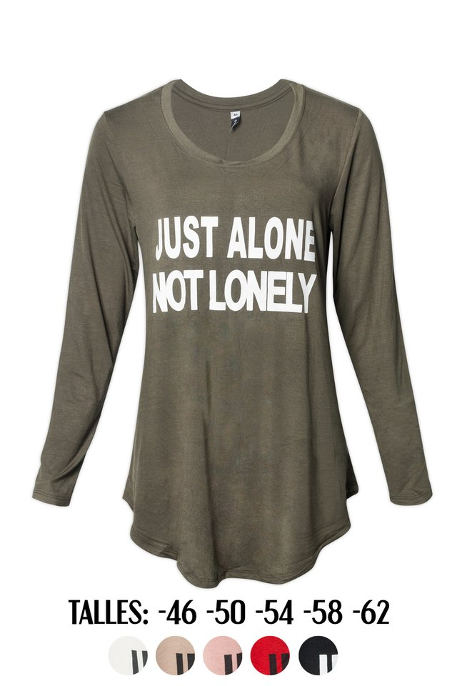 R1026/5 Syes, Remera estampa Just alone not lonely, Talles grandes
