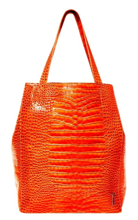 SHOPPING BAG MEDIANA CROCO NARANJA