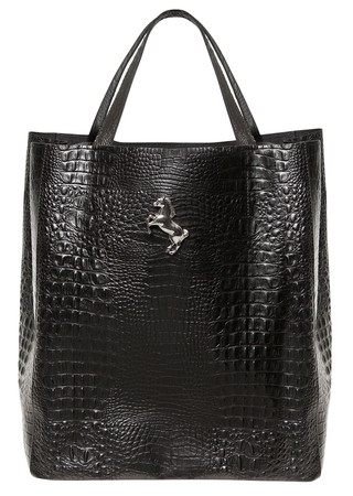 SHOPPING BAG CROCO NEGRO
