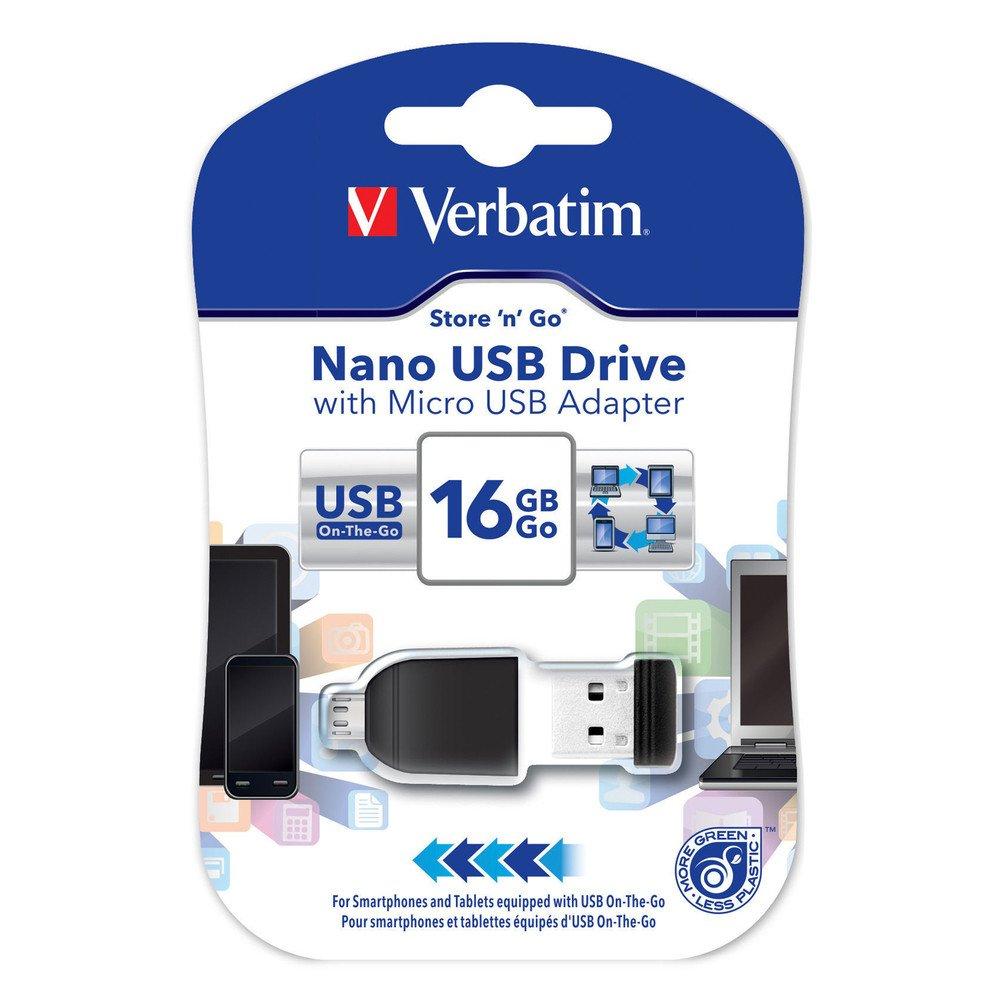 Pen drive  NANO Verbatim USB 16 GB con adaptador Micro USB (49821)