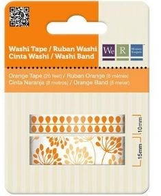 WeR Memory Keepers.  Cinta decorada  Washi Tape NARANJA - comprar online