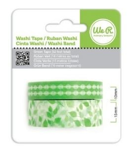WeR Memory Keepers.  Cinta decorada  Washi Tape VERDE - comprar online