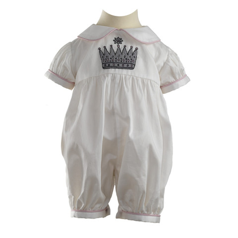 Rachel Riley Princess Crown Embroidered Babysuit