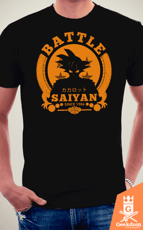 Camiseta Dragon Ball - Batalha Saiyajin - by Pigboom na internet