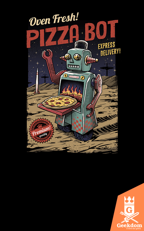 Camiseta Pizza Bot - by Vincent Trinidad Art