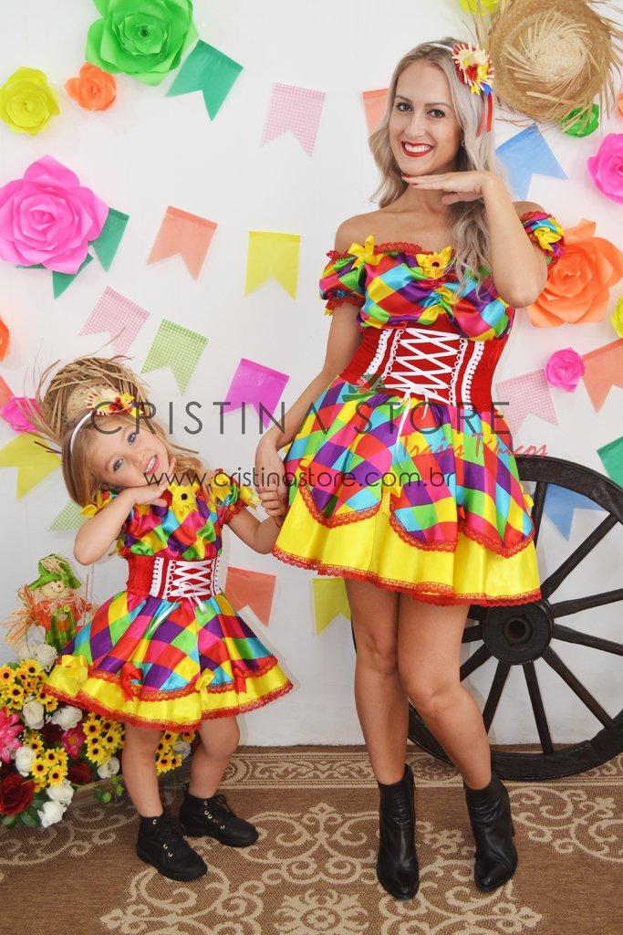Vestido Funny Tal Mãe Tal Filha Festa Junina Caipira Chic