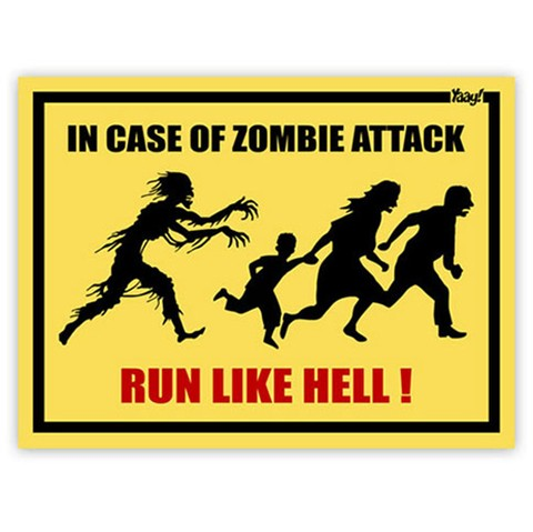 Placa Criativa In Case Of Zombie Attack