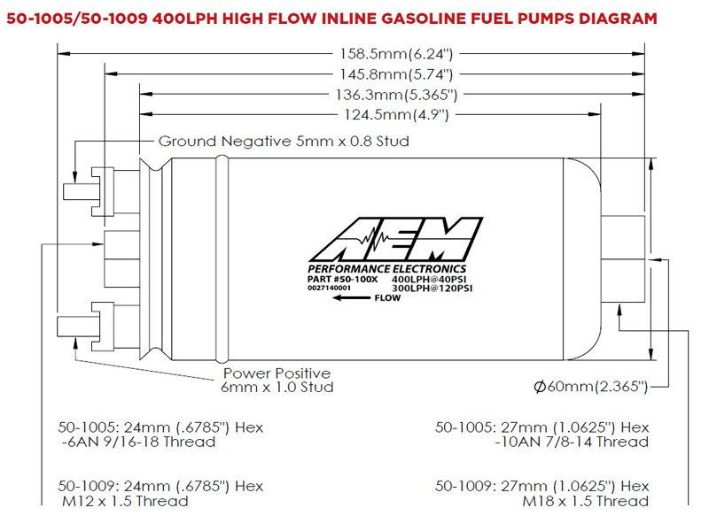 /1005/400LPH Bomba de gasolina en l/ínea alta presi/ón AEM 50/