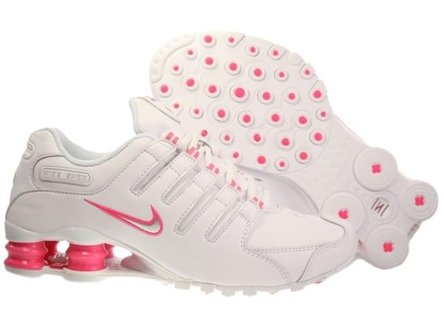 new styles 3680a 4fbdb nike shox junior feminino branco e rosa