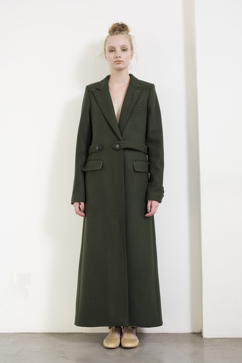 100% wool coat in green, black, tan. Made in Argentina