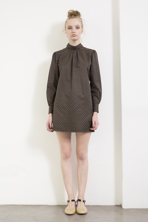 Brown long sleeve, short dress by Dandelion & Burdock. Made in Argentina.