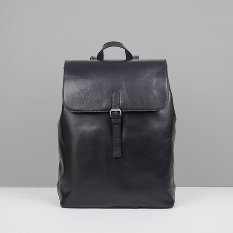 leather backpack, leather bag, black leather backpack