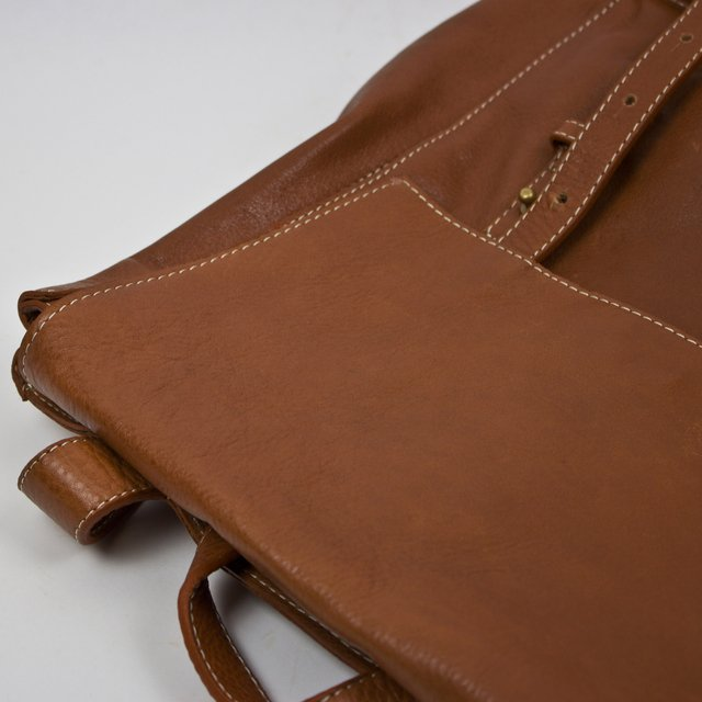 Chestnut leather backpack by contemporary design duo Le Bas