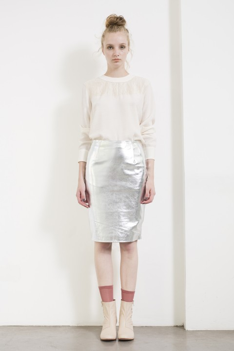 Silver sheep leather skirt. Made in Argentina by Dandelion & Burdock.