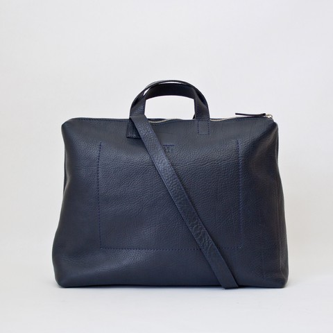 Navy leather satchel with top metal zip by Le Bas