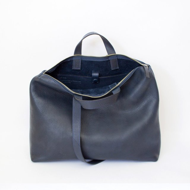 Leather Satchel S Navy on internet
